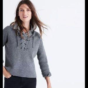Madewell Lace-Up Merino Wool Sweater